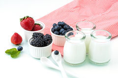 Healthy breakfast with yogurt and berry, dieting, Picnic Stock Images