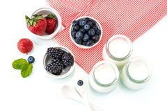 Healthy breakfast with yogurt and berry, dieting, Picnic Stock Image