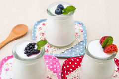 Healthy breakfast with yogurt and berry, dieting, Rustic Style Royalty Free Stock Images