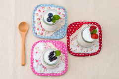 Healthy breakfast with yogurt and berry, dieting, Rustic Style Stock Image