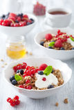 Healthy breakfast with yogurt and granola Stock Images