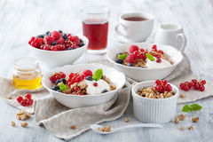 Healthy breakfast with yogurt and granola Royalty Free Stock Photo