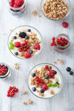 Healthy breakfast with yogurt and granola Stock Photography
