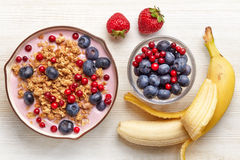 Healthy breakfast. Yogurt with granola and berries Stock Photography