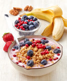 Healthy breakfast. Yogurt with granola and berries Stock Image