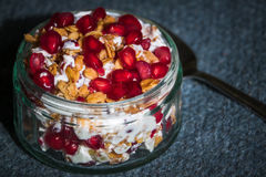 Healthy Breakfast. A Healthy Breakfast of Yogurt, Granola, Pomegranate Stock Photos