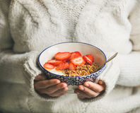 Healthy breakfast yogurt, granola, strawberry bowl in hands of woman Stock Image