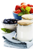 Healthy breakfast - yogurt with muesli and berries Royalty Free Stock Photography