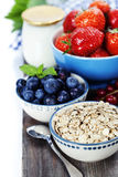 Healthy breakfast - yogurt with muesli and berries Stock Photo