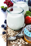 Healthy breakfast - yogurt with muesli and berries Stock Image