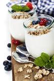 Healthy breakfast - yogurt with muesli and berries Stock Images