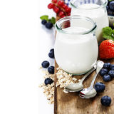 Healthy breakfast - yogurt with muesli and berries Stock Photography