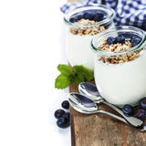 Healthy breakfast - yogurt with muesli and berries Royalty Free Stock Image