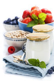 Healthy breakfast - yogurt with muesli and berries Stock Photos