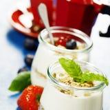 Healthy breakfast - yogurt with muesli and berries - health and Stock Photos
