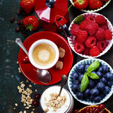 Healthy breakfast - yogurt with muesli and berries - health and Stock Photos