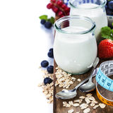 Healthy breakfast - yogurt with muesli and berries Royalty Free Stock Photo