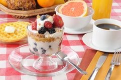 Healthy breakfast with a yogurt parfait Stock Photos