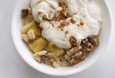 Healthy breakfat of oat and yogurt Royalty Free Stock Images