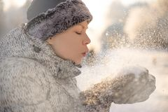 Healthy breath. Cold weather portrait royalty free stock photo