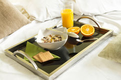 Healthy brkfast served to bed Royalty Free Stock Images
