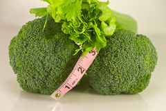 Healthy Broccoli Celery Tape Measure Stock Image