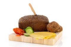 Healthy brown bread with cheese Royalty Free Stock Images