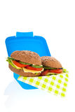 Healthy brown bread roll in blue lunch box Royalty Free Stock Photo