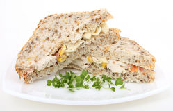 Healthy brown bread sandwich Royalty Free Stock Photography