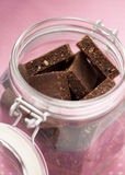 Healthy brownies in a jar Royalty Free Stock Photography