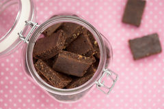 Healthy brownies in a jar Royalty Free Stock Photos