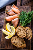 Healthy brunch smoked salmon with cottage cheese Stock Photo