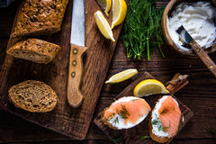 Healthy brunch smoked salmon with cottage cheese Stock Images