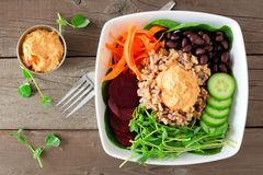 Healthy buddha bowl, above view over rustic wood Stock Image