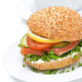 Healthy burger with cheese, salmon and vegetables Stock Image