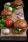 Fresh sesame on baked buns, juicy crispy mushroom burger bun, healthy meal for lunch and dinner royalty free stock photography