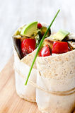Healthy burrito wraps with roasted vegetables Stock Image
