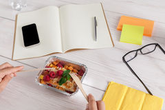 Healthy business lunch snack in office, berry snack Stock Images