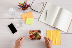 Healthy business lunch snack in office, berry snack Stock Photography