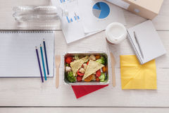 Healthy business lunch snack in office, vegetable salad Royalty Free Stock Image