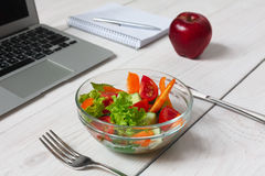 Healthy business lunch snack in office, vegetable salad and coffee Royalty Free Stock Photos