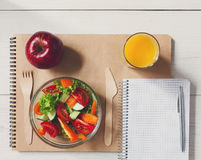 Healthy business lunch snack in office, vegetable salad and coffee Stock Photos