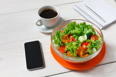 Healthy business lunch snack in office, vegetable salad top view Stock Photography