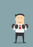 Healthy businessman doing exercises with dumbbells Royalty Free Stock Image