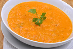 Healthy butternut squash creme soup Stock Images