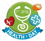Healthy Buttons and Ribbon for World Health Day, Vector Illustration Royalty Free Stock Photography