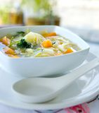 Healthy cabbage and sweet potato soup Stock Images