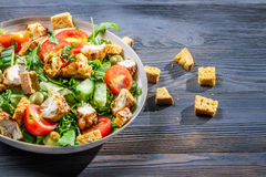 Healthy Caesar salad made of fresh vegetables Royalty Free Stock Photography