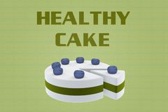 HEALTHY CAKE concept. 3D illustration of HEALTHY CAKE script above a cake, on pale green Stock Photos