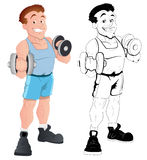 Retro Happy Male Bodybuilder Vector Royalty Free Stock Photo